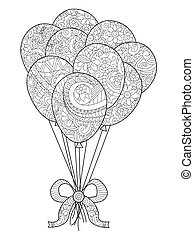 Group of balloons on a string coloring vector for adults