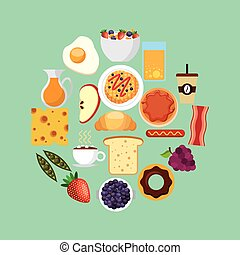 breakfast food design - breakfast food on circle shape over...