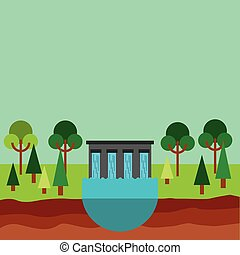 water dam icon - hydroelectric station plant water dam....