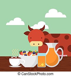 breakfast food design - breakfast food and cow icon....