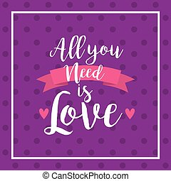 all you need is love card with decorative ribbon and heart...