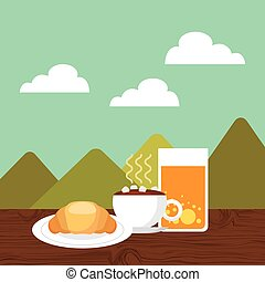 breakfast food design - breakfast food over landscape...