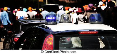 flashing lights of the police car to patrol the city - blue...
