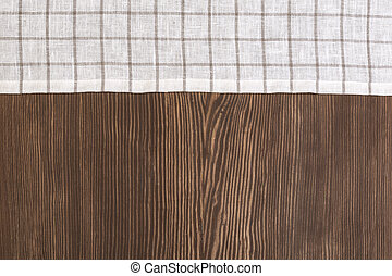 Checkered Tablecloth On The Wooden Background