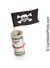 Pirate Flag and Dollar, concept of business crime