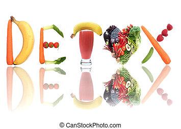 Detox concept - Detox text letters including fruit,...
