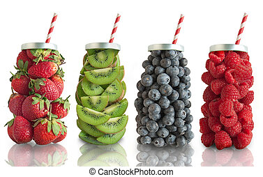 Fruit smoothie flavours concept - Fruits in the shape of a...
