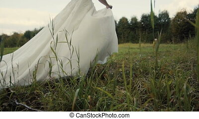 Beautiful Bride Runing in the Park - Bride runing in the...