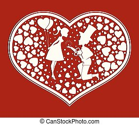 Silhouette of heart with a romantic couple