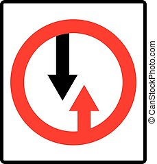 Give way to oncoming traffic sign. Vector road symbol in red...