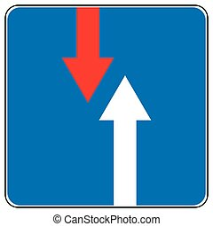 Priority over oncoming vehicles traffic sign isolated on...