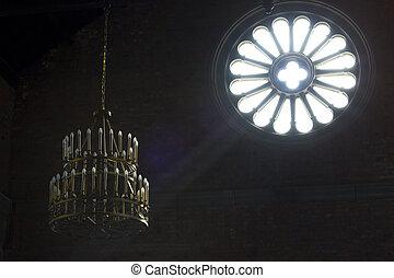 Light inside a church, mystical moment