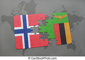 puzzle with the national flag of norway and zambia on a...