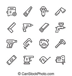 Set line icons of electric and hand tool isolated on white....