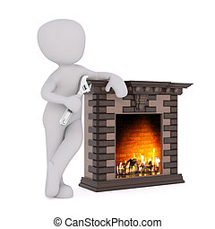 3D figure holds wrench and leans against fireplace as a warm...
