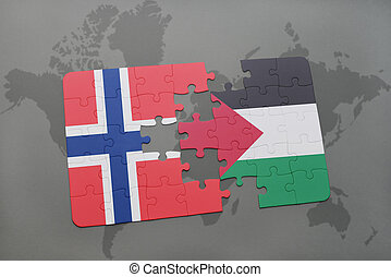 puzzle with the national flag of norway and palestine on a...