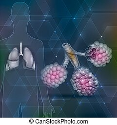 Lungs and alveoli on an abstract hexagon dark background
