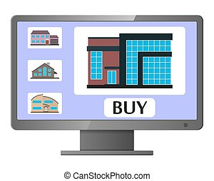 Computer monitor with realty selling web site.