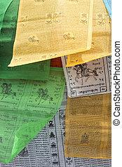 Prayer Flags - Closeup of Tibetan colored religious flags...