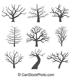 Dead tree silhouettes. Dying black scary trees forest vector...