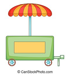 Hot dog trailer icon, cartoon style