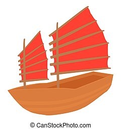 Chinese ship icon, cartoon style