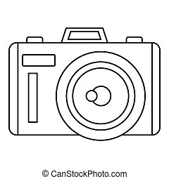 Photocamera icon, outline style - Photocamera icon. Outline...