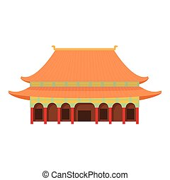 Pagoda temple icon, cartoon style