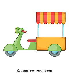 Food cart icon, cartoon style