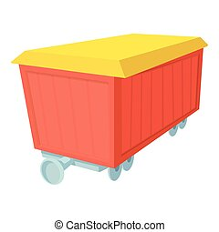 Boxcar icon, cartoon style - Boxcar icon. Cartoon...