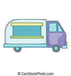 Minivan family car icon, cartoon style
