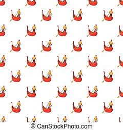 Gondola with gondolier pattern, cartoon style - Gondola with...