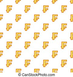 Swiss franc currency symbol pattern, cartoon style - Swiss...