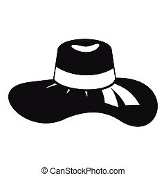 Woman hat icon, simple style - Woman hat icon. Simple...