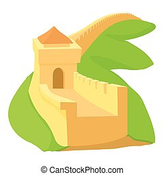 Chinese wall icon, cartoon style - Chinese wall icon....