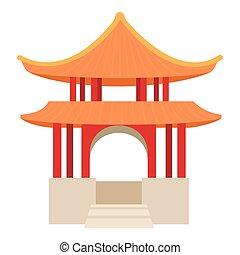 Pagoda icon, cartoon style - Pagoda icon. Cartoon...