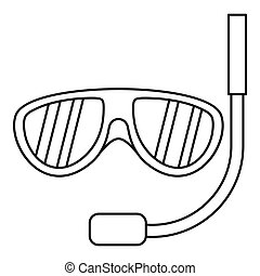 Swimming mask icon, outline style - Swimming mask icon....