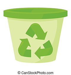 Plastic jar icon, cartoon style - Plastic jar icon. Cartoon...