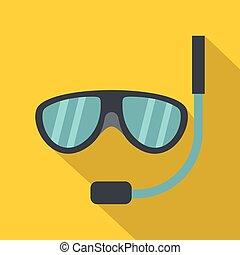 Swimming mask icon, flat style - Swimming mask icon. Flat...
