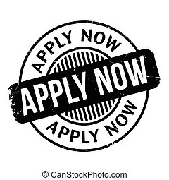 Apply Now rubber stamp. Grunge design with dust scratches....