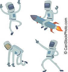 Set of cute astronauts in space, working and having fun....