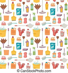 House cleaning tools seamless pattern and washing products...