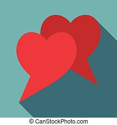 Two hearts icon, flat style - Two hearts icon. Flat...
