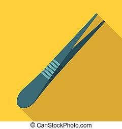 Eyebrow tweezers icon, flat style - Eyebrow tweezers icon....