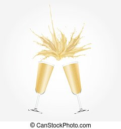 Vector Illustration Two glasses of champagne. - Vector...