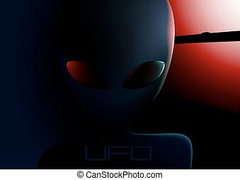 UFO alien visitor next to window at night .