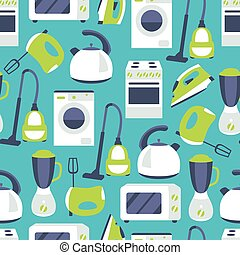Vector seamless pattern of household appliances design flat
