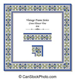 Vintage frame series of Antique Cross Flower Vine