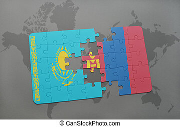 puzzle with the national flag of kazakhstan and mongolia on...