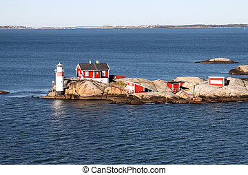 Lighthouse in Gothenburg Archipelago - Lighthouse and red...